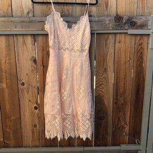 Foxiedox romantic lace pink slip dress